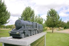 Railway Memorial. To commemorate the achievements of the railways from their humble beginnings until the present day. Also includes a tribute to railway workers Stock Photography