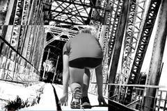 Railway metal bridge perspective view Stock Photo