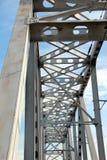 Railway metal bridge perspective view Stock Image