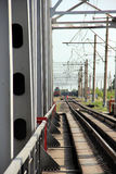 Railway metal bridge perspective view Stock Photography
