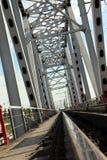 Railway metal bridge perspective view Royalty Free Stock Images