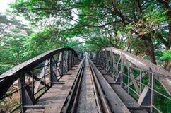 Railway metal bridge of world war history, Kanchanaburi, Thailand Stock Photos