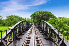 Railway metal bridge of world war history, River Kwai, Thailand Stock Photography