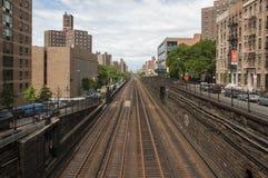 Railway metro tracks in Manhattan, New York. Empty railway metro lines in Manhattan Stock Photos