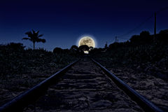 Railway in the moonlight Royalty Free Stock Photo