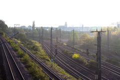 The railway in morning sunlight in Cologne Stock Image