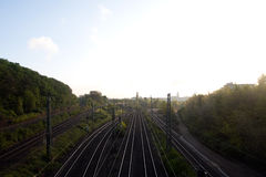 The railway in the morning sunlight in Cologne Royalty Free Stock Photos