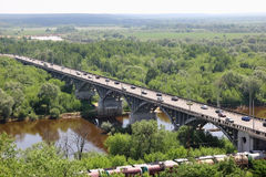 Railway and motorway in Vladimir Royalty Free Stock Images