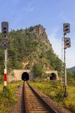 Railway through mountain tunnel Royalty Free Stock Photography