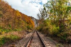 Railway through the mountains autumn time royalty free stock photography