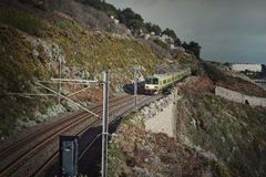 Railway in mountains colorful Stock Photo