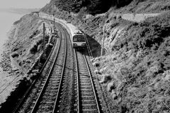 Railway in mountains monochrome Stock Images