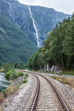 Railway in the mountains in the Norway Royalty Free Stock Photography