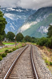Railway in the mountains in the Norway Stock Photos
