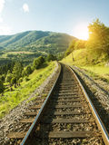 Railway in the mountains. Royalty Free Stock Images