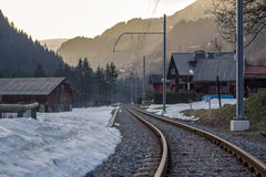 Railway in the mountains Royalty Free Stock Image