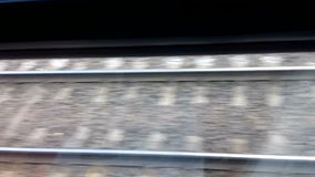 Railway from moving train window stock footage