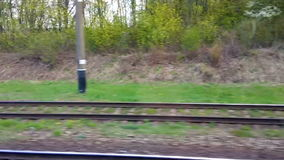 Railway from moving train window.  stock footage