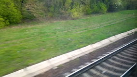 Railway from moving train window.  stock video footage