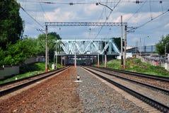 Railway multiple paths Royalty Free Stock Photo