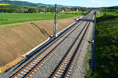 Railway in nature. New railway set in nature Royalty Free Stock Photo