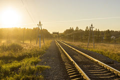 Railway in nature at sunset Stock Photo