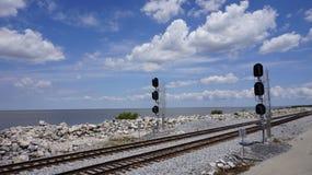 Railway near lake Stock Images
