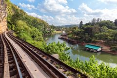 Railway near river Royalty Free Stock Photo