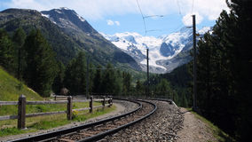 Railway near the top of The Bernina Pass (Graubunden, Switzerland). Railway near the top of The Bernina Pass (el. 2328 m.) (Italian: Passo del Bernina), a high Stock Photography