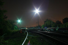 Railway night Royalty Free Stock Image