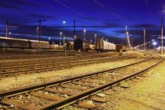Railway at night Stock Image