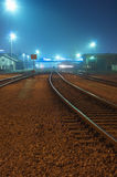 Railway at night Royalty Free Stock Image