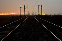 Railway by night Stock Photography