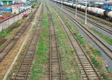 Railway. The nodal junction of railways. Royalty Free Stock Photos