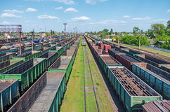 Railway nodal station. City junction railway yard on which sorting of freight railway trains takes place Royalty Free Stock Image