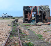 Railway. An old abandoned railway track on a beach Stock Photos