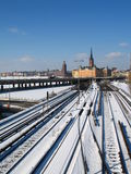 Railway and the old town. In Stockolm royalty free stock image