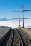 Railway over the clouds Stock Photo