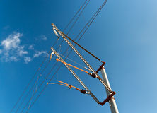 Railway overhead contact system Royalty Free Stock Photo