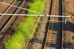 Railway overhead contact system Stock Photos