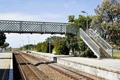 Railway overhead pedestrian crossing Royalty Free Stock Photography