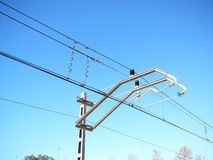 Railway overhead wire. Overhead wires on Spnaish railway Royalty Free Stock Images