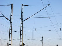 Railway Overhead Wiring -  Power lines Royalty Free Stock Photos