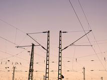 Railway Overhead Wiring -  Power lines Royalty Free Stock Photography