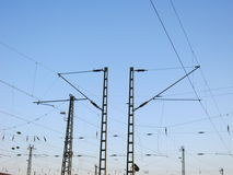 A Railway Overhead Wiring -  Power lines Royalty Free Stock Photos