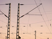 A Railway Overhead Wiring -  Power lines Royalty Free Stock Photo