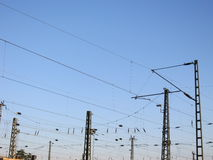 A Railway Overhead Wiring - Power lines Stock Image