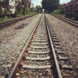 Railway. Parallel straight train railway Stock Photography
