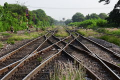 Railway in the park. Railway in the park, Bangsue railway, Thailand royalty free stock photo