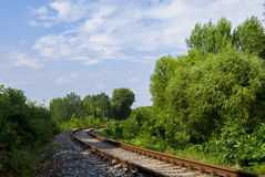 Railway in the park. On summer day Stock Photo